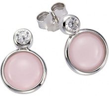 ZEEme 925 argento Rotonda bianco Rosa Vetro Zirconia cubica FINEEARRING