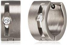 Pure Grey–Orecchini a cerchio da donna con zirconia cubica trasparenti, finitura titanio opaco, taglio brillante–23452