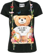 - Moschino - T - shirt con logo stampato - women - Polyamide/viscose - 38 - di colore nero