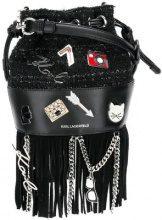 - Karl Lagerfeld - Clutch con cuciture a vista - women - pelle - Taglia Unica - di colore nero