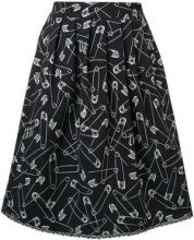 Love Moschino - pin print flared skirt - women - Polyester/Spandex/Elastane - 40, 42 - Nero