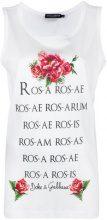 Dolce & Gabbana - rose print vest top - women - Cotone - 44, 38, 40 - Bianco
