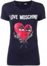 Love Moschino - logo print T-shirt - women - Cotone/Spandex/Elastane - 40, 42, 44 - BLUE