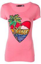 Love Moschino - T-shirt 'Paradise Island' - women - Spandex/Elastane/Modal - 40, 44 - Rosa & viola