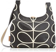Orla Kiely Etc Giant Linear Stem Midi Sling Bag - Borse da spiaggia Donna, Multicolore (Black/Cream), 33x25x10 cm (W x H L)