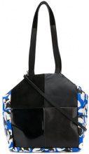 Carmina Campus - floral colour-block tote - women - Leather/Nylon - OS - Nero