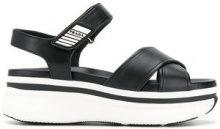 Prada - Sandali con cinturini incrociati - women - Calf Leather/Leather/rubber - 38, 39, 39.5, 36, 37, 36.5, 40 - Nero