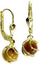 InCollections - Orecchini pendenti per bambini con occhio di tigre, oro giallo 8k (333), cod. 0070160102401