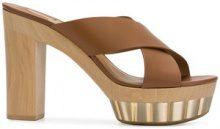 Salvatore Ferragamo - Sandali con plateau - women - Calf Leather/Leather/rubber - 9.5, 10, 10.5, 5, 7, 7.5, 8.5, 9, 5.5, 6.5, 8 - Marrone