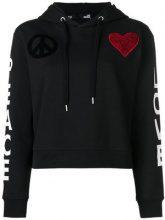 Love Moschino - heart patch hoodie - women - Cotone/Spandex/Elastane - 38, 40, 42, 44 - Nero
