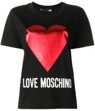 Love Moschino - logo heart T-shirt - women - Cotone - 38, 40, 42, 44 - Nero