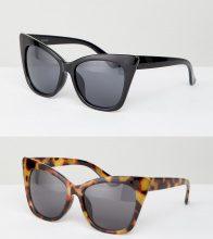 ASOS DESIGN - Confezione da 2 occhiali da sole basic a occhi di gatto - Multicolore