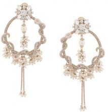 Marchesa Notte - pearl and crystal encrusted organza hoop earrings - women - Gold Plated Brass/Crystal - OS - WHITE