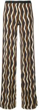 Siyu - geometric print straight trousers - women - Spandex/Elastane/Viscose - 34 - BROWN