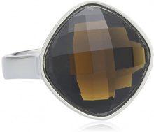 ESPRIT Impressive Brown, Anello in acciaio inossidabile con gemma in vetro marrone da donna, 16