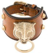 Gucci - Bracciale con testa di felino - women - Leather - OS - Marrone