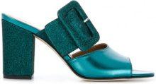 Paris Texas - glitter buckle mules - women - Calf Leather/Leather/PVC - 36, 36.5, 37, 37.5, 38, 38.5, 39, 39.5, 40, 41, 35 - GREEN