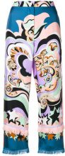 Emilio Pucci - abstract print cropped trousers - women - Silk - 38, 40, 42, 44, 46, 48 - BLUE