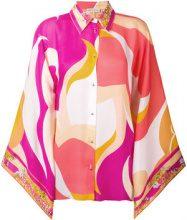 Emilio Pucci - floral detailing blockcolour shirt - women - Silk - 40, 42, 44, 38, 46, 48 - MULTICOLOUR