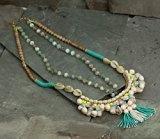 Deepa Gurnani-Bracciale con perle d'acqua dolce, con perle e cristalli Swarovski, a mano-Collana, lunghezza 38 cm