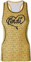 Fendi - logo heart-print tank top - women - Polyester/Spandex/Elastane - 38, 42 - Giallo & arancio