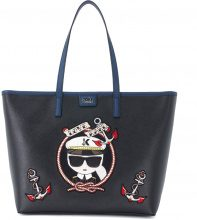 Shopper Karl Lagerfeld Captain Karl in pelle nera con grafica marinara