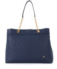 Borsa a spalla Tory Burch Flaming Center-Zip in pelle blu