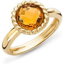 Miore–Anello da donna 9carati (375) oro giallo citrino quarzo 2CT. Quarzo Arancione taglio rotondo–MNA9027R, oro giallo, 54 (17.2), cod. MNA9027R4