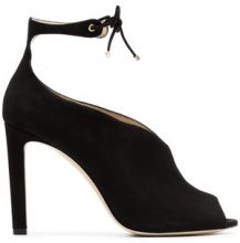 Jimmy Choo - black Sayra 100 suede open toe booties - women - Suede/Leather - 36, 36.5, 37, 37.5, 38, 38.5, 39, 39.5, 40, 35, 35.5, 40.5, 41 - Nero