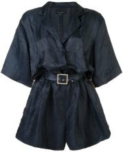 Cynthia Rowley - belted short playsuit - women - Silk/Linen/Flax - XS, S, L - BLUE