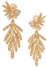 Oscar de la Renta - tropical palm crystal clip-on earrings - women - Crystal/Brass/Pewter - OS - YELLOW & ORANGE