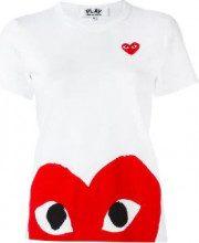 Comme Des Garçons Play - T-shirt con cuore stampato - women - Cotone - XS, M - WHITE