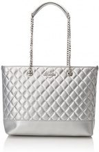 Love Moschino Borsa Quilted Metallic Pu Argento - Borse Tote Donna, (Silver), 12x28x41 cm (B x H T)
