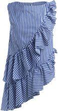 Top Milla Milla asimmetrico blu e bianco con rouches