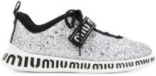 Miu Miu - glitter lace-up sneakers - women - Leather/Polyester/rubber - 35, 36, 36.5, 37, 37.5, 38, 38.5, 39, 40, 35.5 - Metallizzato