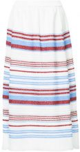 COOHEM - striped full skirt - women - Polyester/Cotone/Acrylic/Linen/Flax - 38 - Bianco