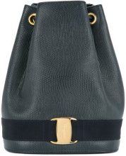 Salvatore Ferragamo Vintage - Vara Logos drawstring backpack - women - Leather - OS - Nero