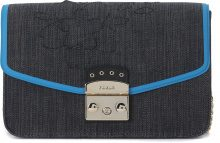 Borsa a spalla Furla Metropolis in tessuto blue denim