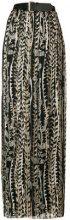 Alberta Ferretti - floral pleated maxi skirt - women - Silk/Spandex/Elastane/Acetate - 44 - Nero