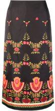 La Doublej - Mexican embroidery midi skirt - women - Polyester - S, L - Nero