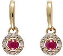Ivy Gems Donna 9 carati oro giallo Rotonda rosso Rubino