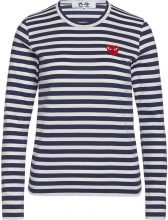 T-shirt Comme des Garçons Play blu con righe bianche