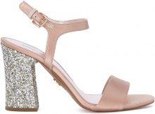 Sandalo Michael Kors Tori in raso rosa e glitter argento