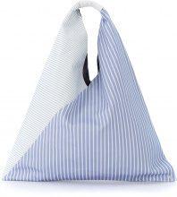 Shopper MM6 Maison Margiela in tessuto bianco e blu