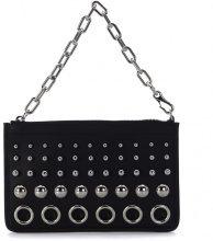 Pochette Alexander Wang Attica Chain in pelle nera con borchie e anelli