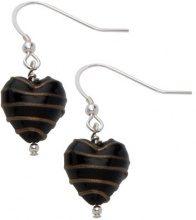 Bellissi Murano Venezia - Orecchini a pendente, con pendente a forma di cuore in autentico vetro di Murano, decorazione a strisce, colore: Argento/Marrone scuro