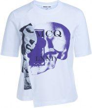 T-Shirt McQ Alexander McQueen assimmetrica bianca con stampa
