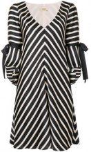 Liu Jo - striped flared dress - women - Polyester - 42, 44 - Nero