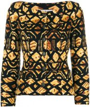 - Yves Saint Laurent Vintage - geometric printed jacket - women - cotone - 38 - di colore nero