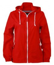 James & Nicholson - Sofshell Ladies Sailing Jacket, Giacca Donna, Rosso (Red/White), Medium (Taglia Produttore: Medium)
